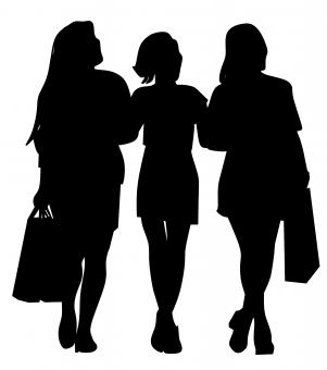 Free Stock Photo of Silhouette of Friends Shopping