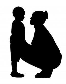 Free Stock Photo of Mother and Son Silhouette