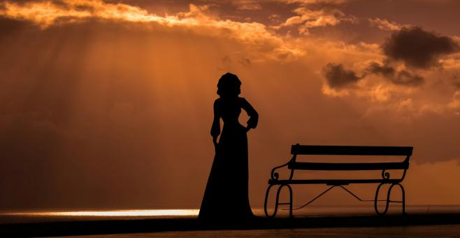 Free Stock Photo of Woman Silhouette at Sunset