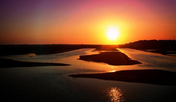 Free Stock Photo of Sunset over the Ria Formosa Natural Park near Faro in Algarve Portugal