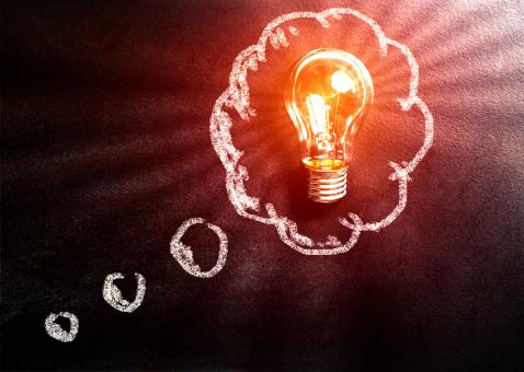 Free Stock Photo of Thought Concept with Light Bulb Over Blackboard copy