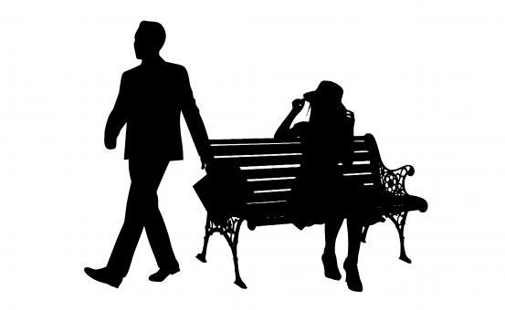 Free Stock Photo of Sad Couple Silhouette