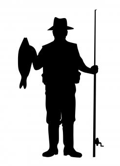 Free Stock Photo of Fisherman Silhouette