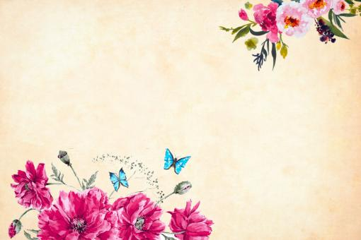 Free Stock Photo of Vintage Flower and Butterflies Background