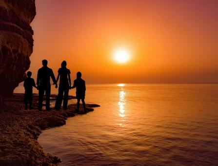 Free Stock Photo of Family Watching Sunset