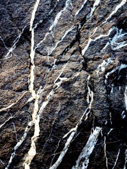 Free Stock Photo of Dark black rock texture with white veins running through the boulder