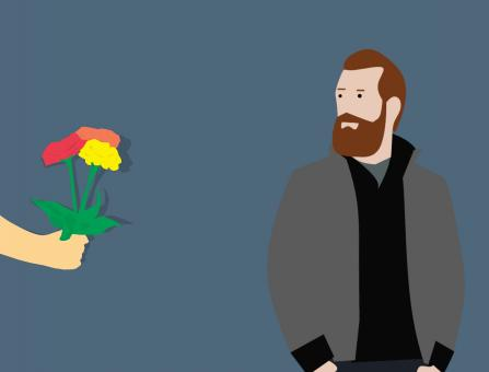 Free Stock Photo of Giving Flowers Illustration
