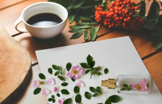 Free Stock Photo of Perfume and Coffee