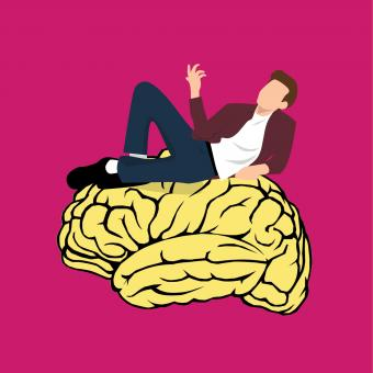 Free Stock Photo of Man Thinking - Yellow Brain Illustration