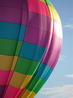 Free Stock Photo of Close-up of Hot Air Balloon with Blue Sky & Clouds