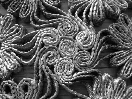 Free Stock Photo of Black & White Close-up of Rattan Trivet Design