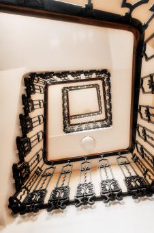 Free Stock Photo of Spiral Sepia Staircase