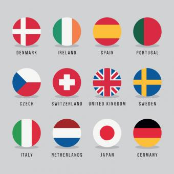 Free Stock Photo of Circled Flags
