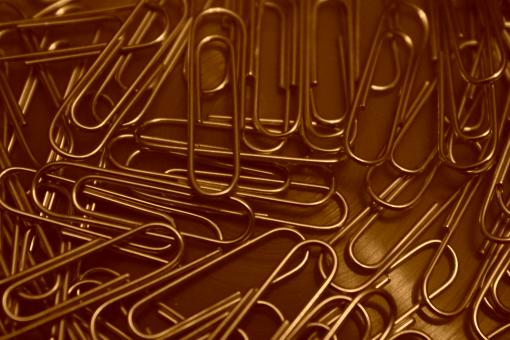 Free Stock Photo of Paperclips made of metal (sepia effect)