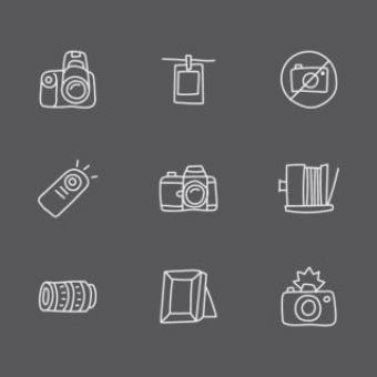 Free Stock Photo of White Doodled Photography Icons
