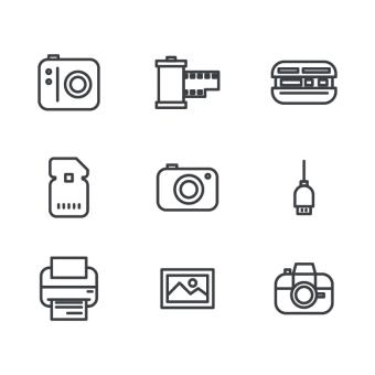 Free Stock Photo of Outlined Photography Icons