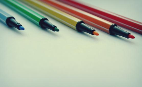 Free Stock Photo of Five bright felt tip pens