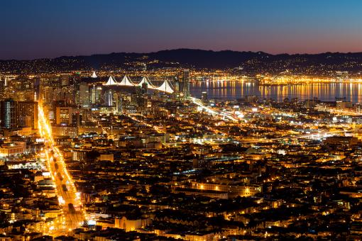 Free Stock Photo of San Francisco Dawn Lights