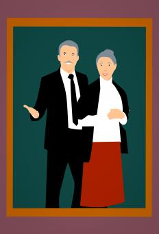 Free Stock Photo of Grandparents Illustration