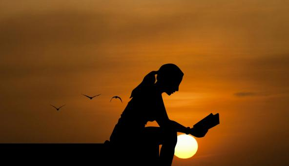 Free Stock Photo of Silhouette of Woman Reading at Dusk
