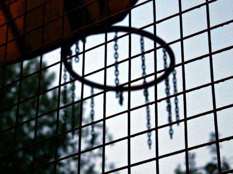 Free Stock Photo of Metal lattice and basketball hoop on the playground