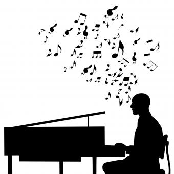 Free Stock Photo of Piano Player Silhouette