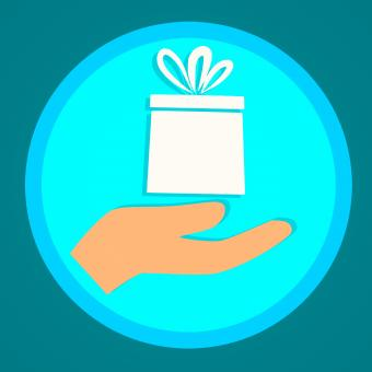 Free Stock Photo of Illustration of Hand and Gift Box