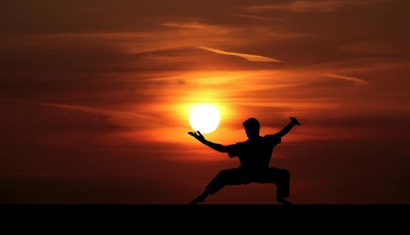 Free Stock Photo of Kung Fu Master at Sunset
