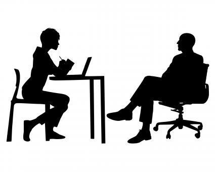 Free Stock Photo of Manager and Secretary Silhouette