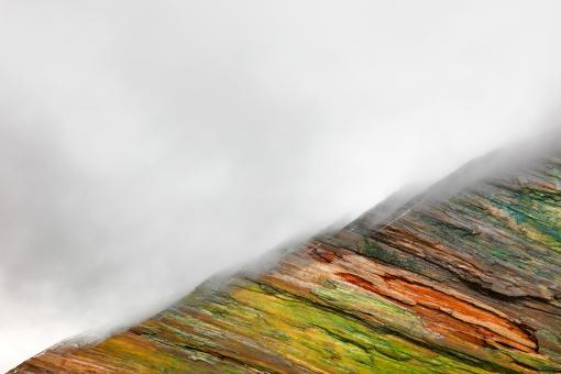 Free Stock Photo of Painted Wood Mountain Fog
