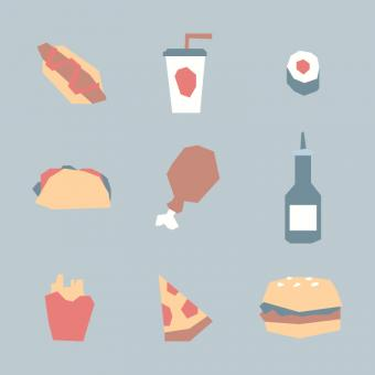 Free Stock Photo of Fast Food Vector Icons
