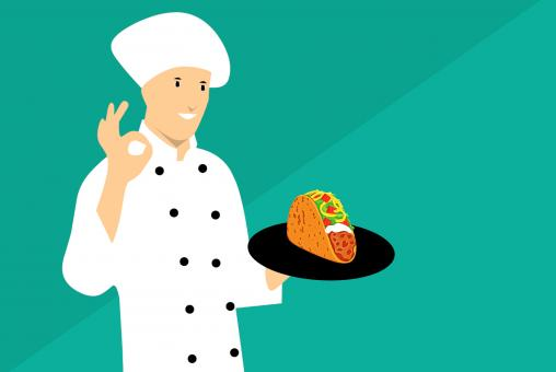 Free Stock Photo of Taco Chef Illustration