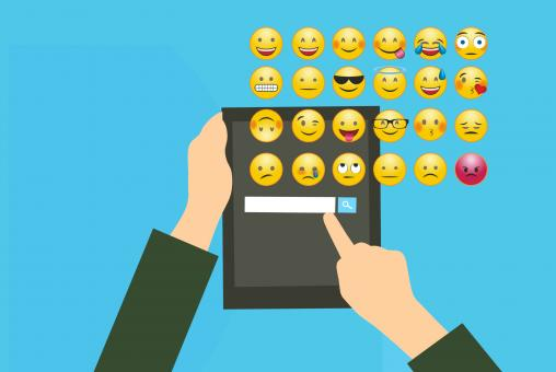 Free Stock Photo of Chatting and Using Emoji
