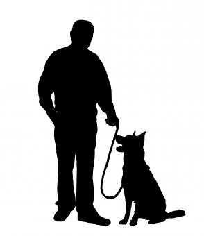Free Stock Photo of Man and Dog Silhouette