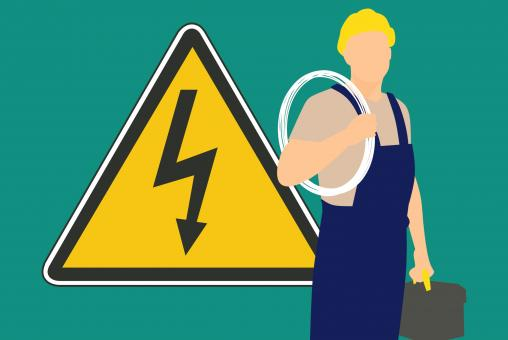 Free Stock Photo of Electrician and Warning Sign Illustration