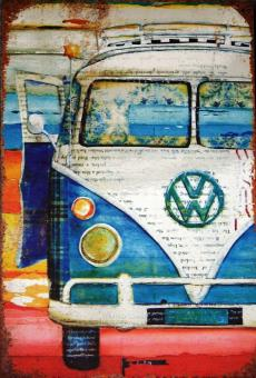 Free Stock Photo of Vintage VW Volkswagen Camper Van Advertising Sign Board
