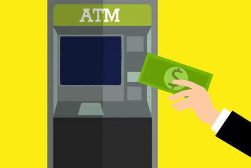 Free Stock Photo of Using ATM Machine