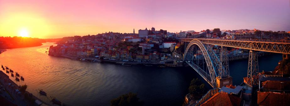 Free Stock Photo of Porto - Portugal - Old Town at Sunset