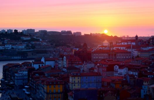 Free Stock Photo of Sunset - Porto - Old Town - Ribeira - Northern Portugal