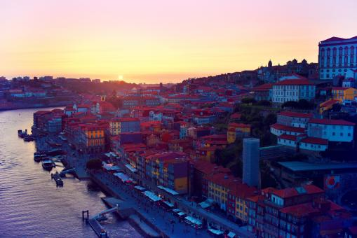 Free Stock Photo of Sunset - Porto - Old Town From Bridge - Northern Portugal
