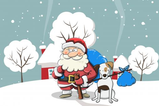 Free Stock Photo of Santa and Dog Christmas Illustration