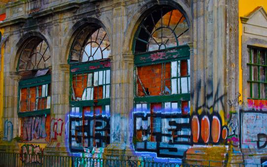 Free Stock Photo of Urban Aesthetic - Derelict Building with Graffiti - Porto - Portugal