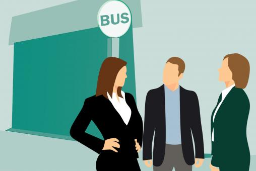 Free Stock Photo of People Waiting at Bus Stop Illustration