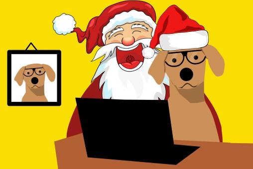Free Stock Photo of Dog and Santa Illustration