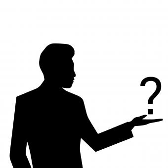 Free Stock Photo of Man Silhouette Looking at Question Mark