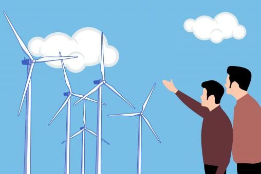 Free Stock Photo of Wind Farm Illustration