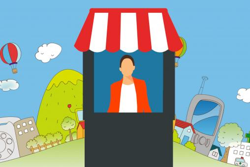 Free Stock Photo of Town Booth Illustration