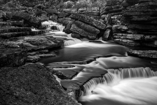 Free Stock Photo of Rugged Caney Fork Cascades - Black & White