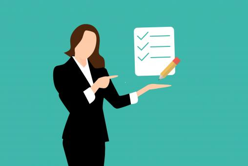 Free Stock Photo of Woman Showing Checklist Illustration