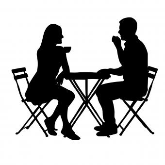 Free Stock Photo of Couple Drinking Coffee Silhouette